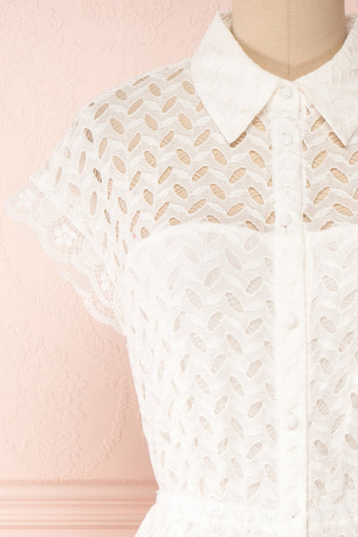 Goja White Lace Short Sleeve Midi Dress | Boutique 1861 front close-up