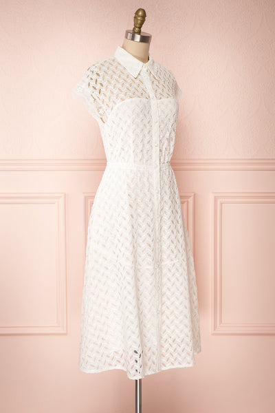 Goja White Lace Short Sleeve Midi Dress | Boutique 1861 side view