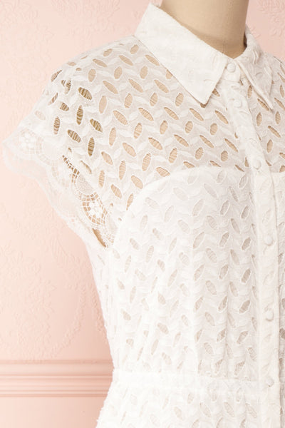 Goja White Lace Short Sleeve Midi Dress | Boutique 1861 side close-up