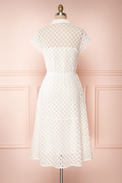 Goja White Lace Short Sleeve Midi Dress | Boutique 1861 back view