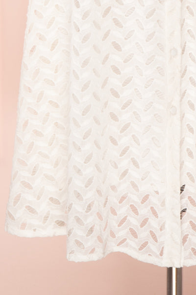 Goja White Lace Short Sleeve Midi Dress | Boutique 1861 bottom close-up