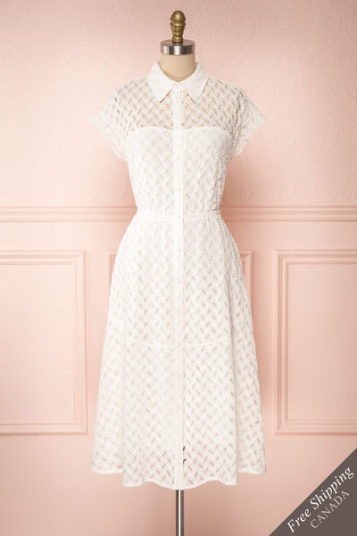 Goja White Lace Short Sleeve Midi Dress | Boutique 1861 front view
