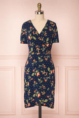 Gorlice Sea Navy Blue Floral Wrap Summer Dress | Boutique 1861