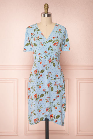 Gorlice Sky Light Blue Floral Wrap Summer Dress | Boutique 1861