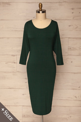 Goveradi Dark Green Fitted Midi Dress | La Petite Garçonne