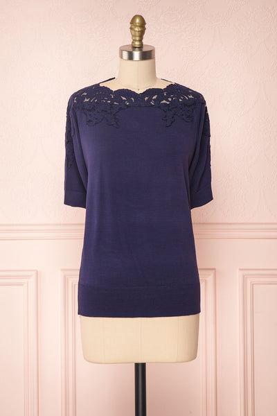 Goyave Dark Navy Blue Lace Knit Short Sleeved Top | Boutique 1861 1