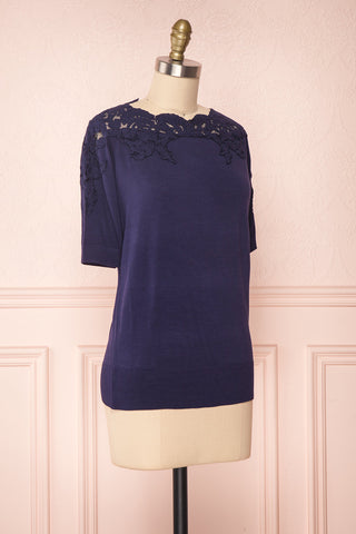 Goyave Dark Navy Blue Lace Knit Short Sleeved Top | Boutique 1861 3