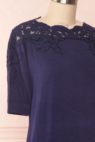 Goyave Dark Navy Blue Lace Knit Short Sleeved Top | Boutique 1861 4