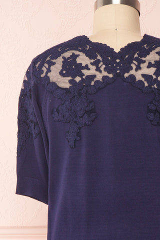 Goyave Dark Navy Blue Lace Knit Short Sleeved Top | Boutique 1861 6