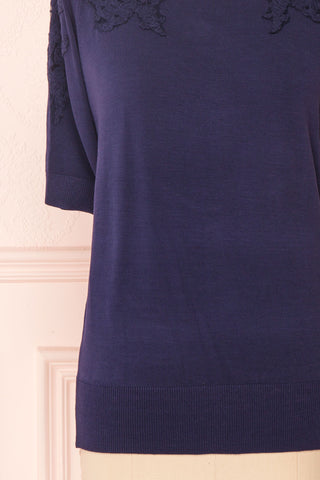 Goyave Dark Navy Blue Lace Knit Short Sleeved Top | Boutique 1861 7