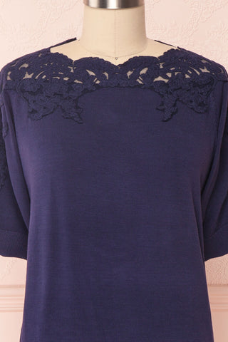Goyave Dark Navy Blue Lace Knit Short Sleeved Top | Boutique 1861 8