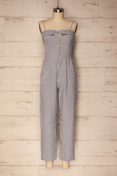 Greasby White & Grey Striped Sleeveless Jumpsuit | La Petite Garçonne