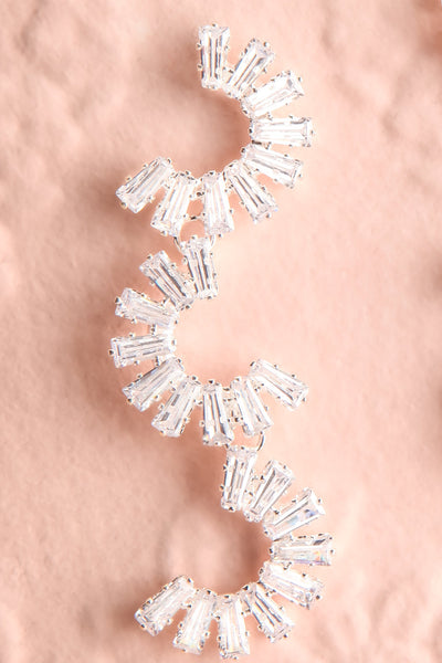 Grenoble Clear Crystal C-Shaped Pendant Earrings close-up | Boutique 1861