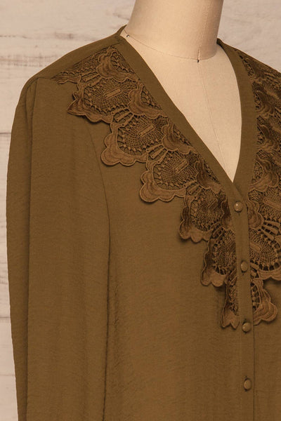 Gretel Olive Blouse | Chemisier | La Petite Garçonne side close-up