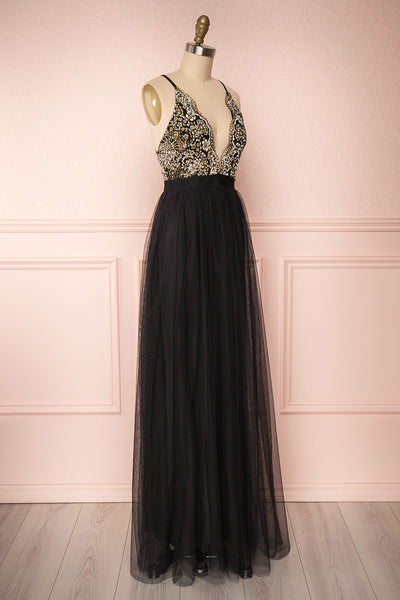 Gunvor Black Mesh Maxi Dress w/ Glitter |  Boutique 1861 side view