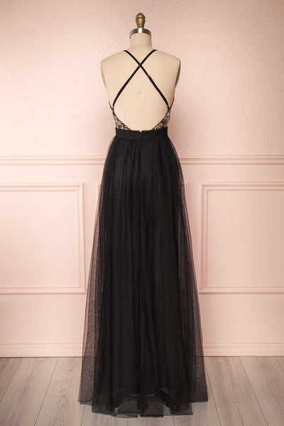 Gunvor Black Mesh Maxi Dress w/ Glitter |  Boutique 1861 back view