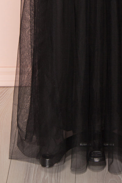 Gunvor Black Mesh Maxi Dress w/ Glitter |  Boutique 1861 bottom close-up