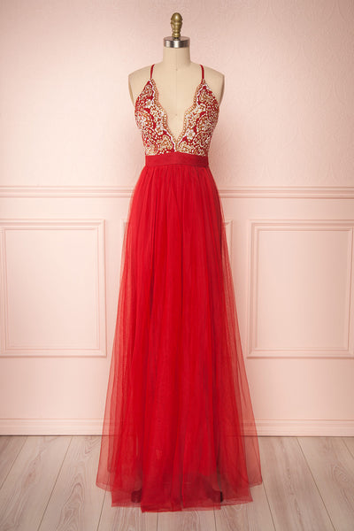 Gunvor Red Mesh Gown with Glitter front view | Boutique 1861