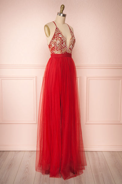 Gunvor Red Mesh Gown with Glitter side view | Boutique 1861