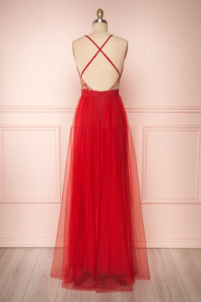 Gunvor Red Mesh Gown with Glitter back view | Boutique 1861