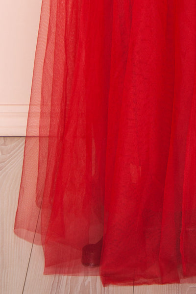 Gunvor Red Mesh Gown with Glitter skirt close up | Boutique 1861