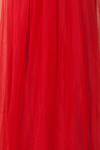Gunvor Red Mesh Gown with Glitter fabric detail | Boutique 1861