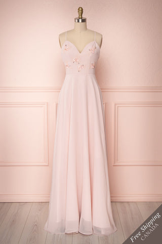 Gurito Blush Pink A-Line Chiffon Gown w/ Crystals | Boutique 1861