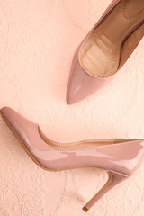Guttin Mauve Patent Faux-Leather Pointed Toe Heels | Boutique 1861