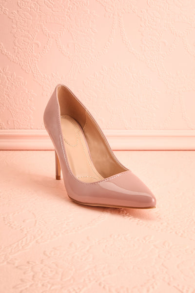 Guttin Mauve Patent Faux-Leather Pointed Toe Heels | Boutique 1861 3