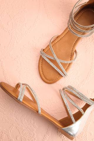 Guyane Silver Crystals Gladiator Sandals | Boutique 1861