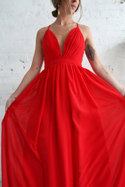Haley Passion Red Chiffon Gown | Boutique 1861 on model