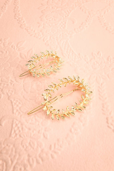 Hambourg Set of 2 Gold Leafy Wreath Hair Clips | Boutique 1861