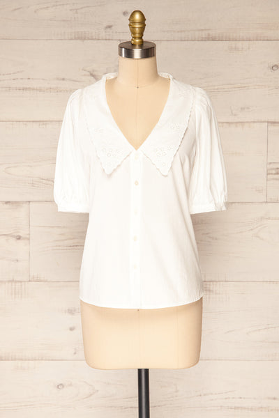 Haneul White Puffy Sleeves Buttoned Blouse | La petite garçonne front view