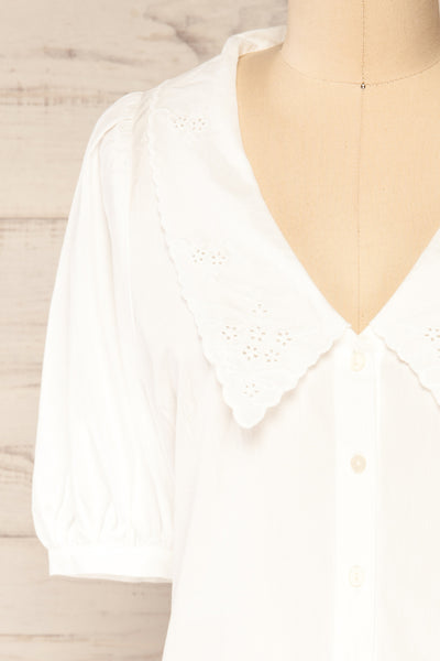 Haneul White Puffy Sleeves Buttoned Blouse | La petite garçonne front close-up