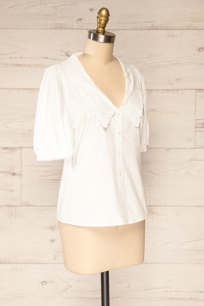 Haneul White Puffy Sleeves Buttoned Blouse | La petite garçonne side view