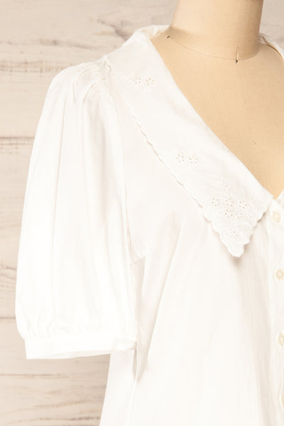 Haneul White Puffy Sleeves Buttoned Blouse | La petite garçonne side close-up