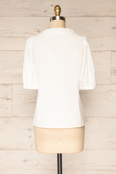 Haneul White Puffy Sleeves Buttoned Blouse | La petite garçonne back view