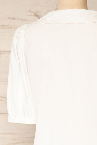 Haneul White Puffy Sleeves Buttoned Blouse | La petite garçonne back close-up