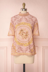 Hansol Light Pink Baroque Printed Short Sleeved Top | Boutique 1861