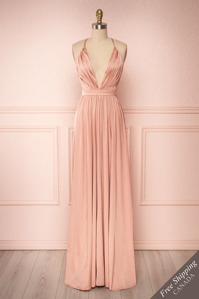 Harini Blush Pink Silky Gown with Plunging Neckline | FRONT VIEW | Boutique 1861