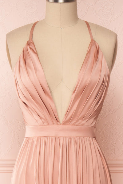 Harini Blush Pink Silky Gown with Plunging Neckline | FRONT CLOSE UP | Boutique 1861