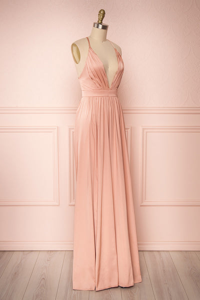Harini Blush Pink Silky Gown with Plunging Neckline | SIDE VIEW | Boutique 1861