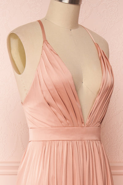 Harini Blush Pink Silky Gown with Plunging Neckline | SIDE CLOSE UP | Boutique 1861