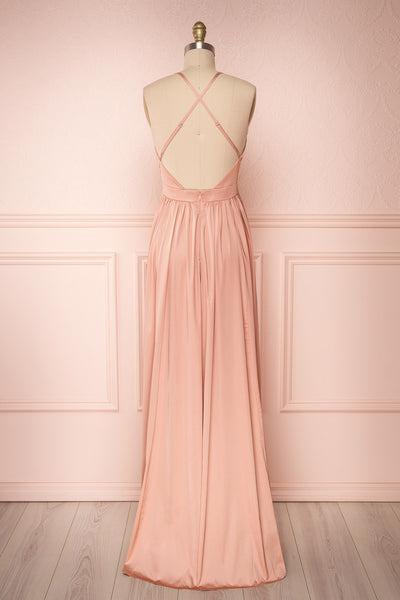 Harini Blush Pink Silky Gown with Plunging Neckline | BACK VIEW | Boutique 1861