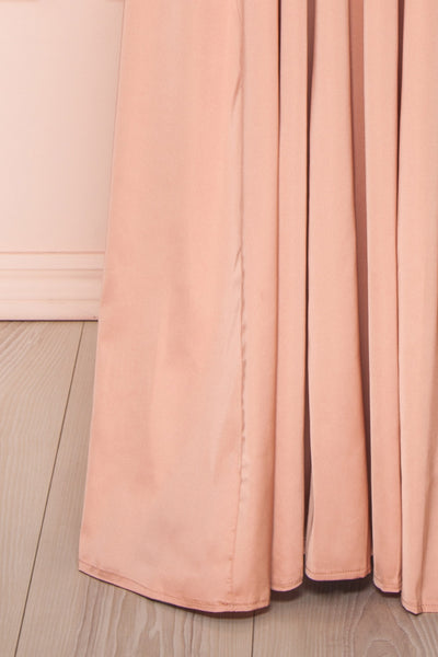 Harini Blush Pink Silky Gown with Plunging Neckline | BOTTOM CLOSE UP | Boutique 1861
