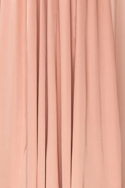 Harini Blush Pink Silky Gown with Plunging Neckline | FABRIC DETAIL | Boutique 1861