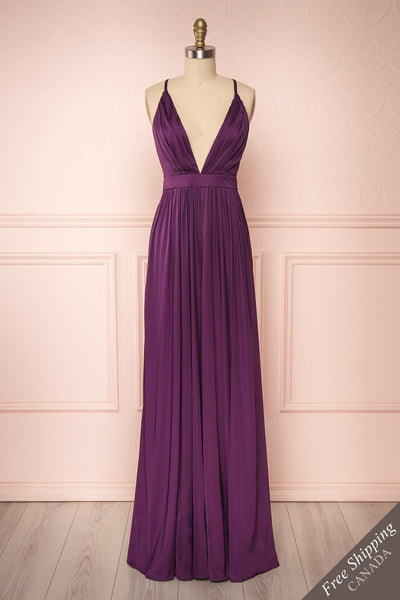 Harini Eggplant Purple Silky Gown w Plunging Neckline  | FRONT VIEW | Boutique 1861