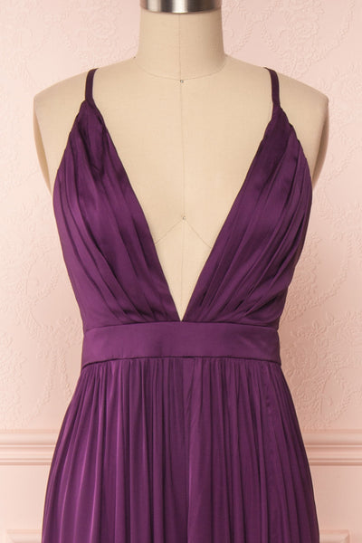 Harini Eggplant Purple Silky Gown w Plunging Neckline  | FRONT CLOSE UP | Boutique 1861