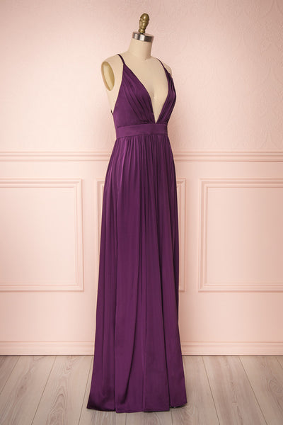 Harini Eggplant Purple Silky Gown w Plunging Neckline  | SIDE VIEW | Boutique 1861