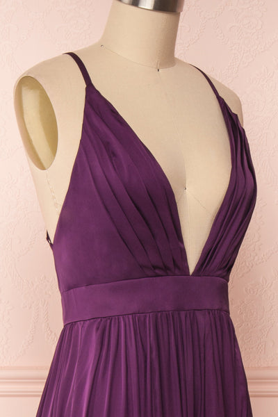 Harini Eggplant Purple Silky Gown w Plunging Neckline  | SIDE CLOSE UP | Boutique 1861